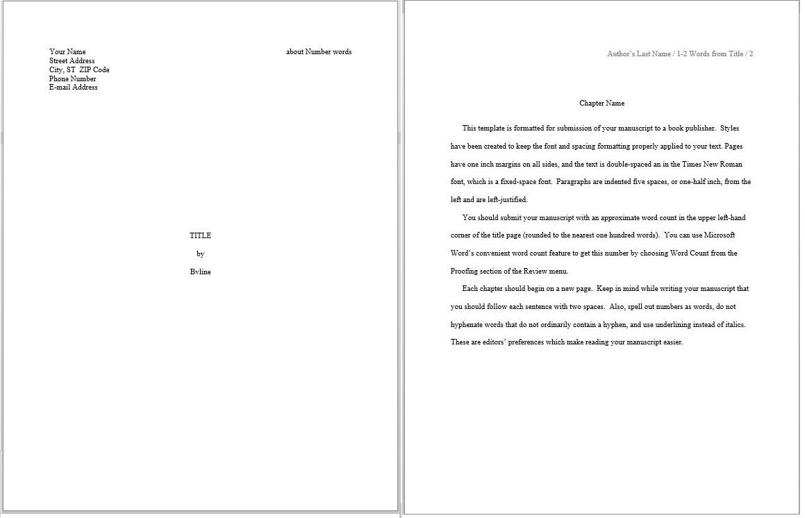 book manuscript template this is the only template that includes a front page
