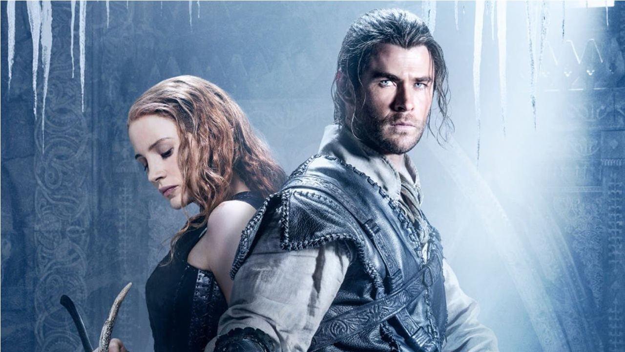 Jessica Chastain as Sara, and Chris Hemsworth as Eric in The Hunstman: Winter's War