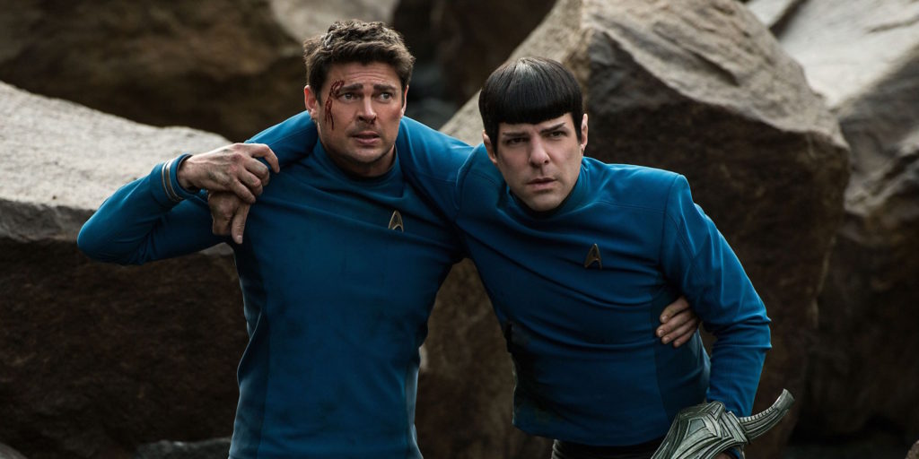Karl Urban as Bones and Zachary Quinto as Spock in Star Trek Beyone.